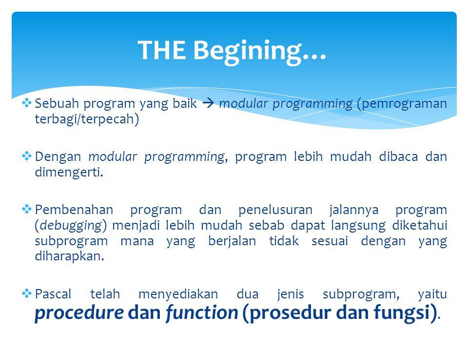 THE Begining… Sebuah program yang baik  modular programming (pemrograman terbagi/terpecah)