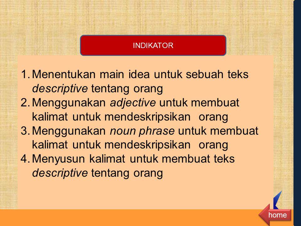 Menentukan main idea untuk sebuah teks descriptive tentang orang