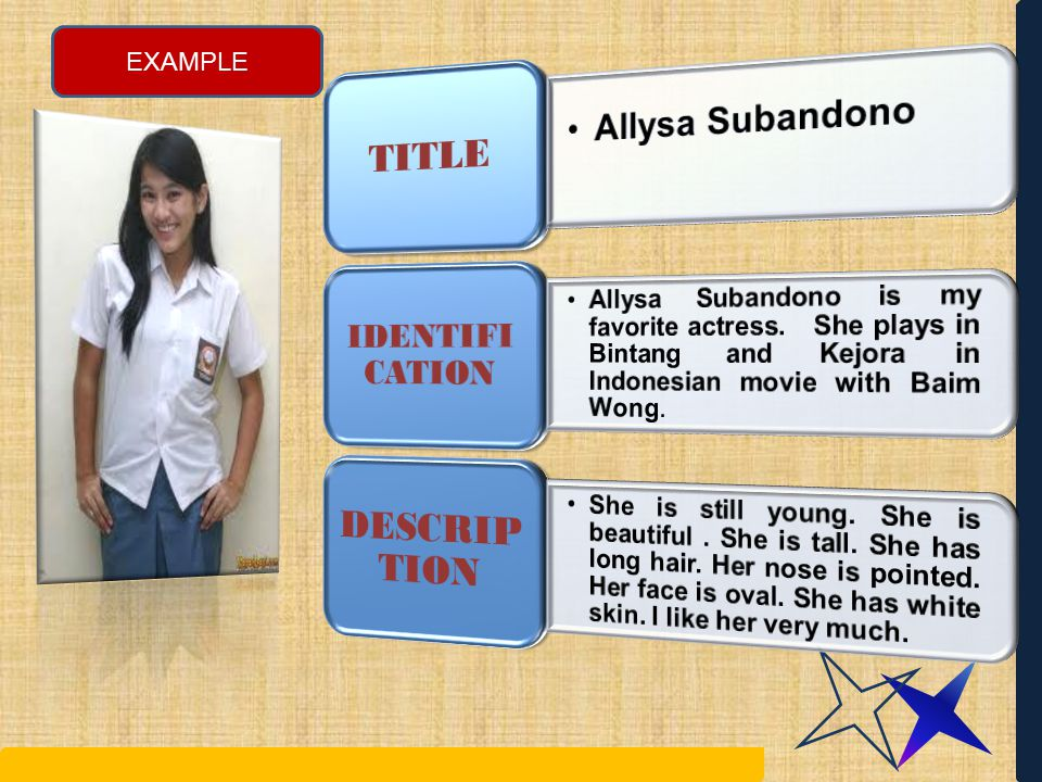 DESCRIPTION TITLE Allysa Subandono IDENTIFI CATION