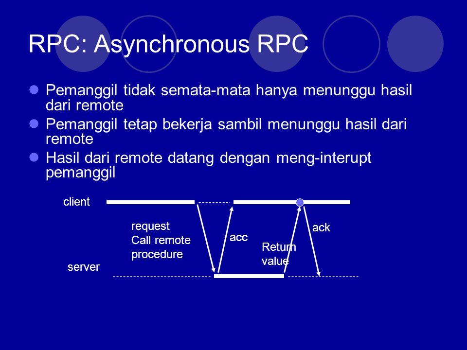 RPC: Asynchronous RPC Pemanggil tidak semata-mata hanya menunggu hasil dari remote. Pemanggil tetap bekerja sambil menunggu hasil dari remote.
