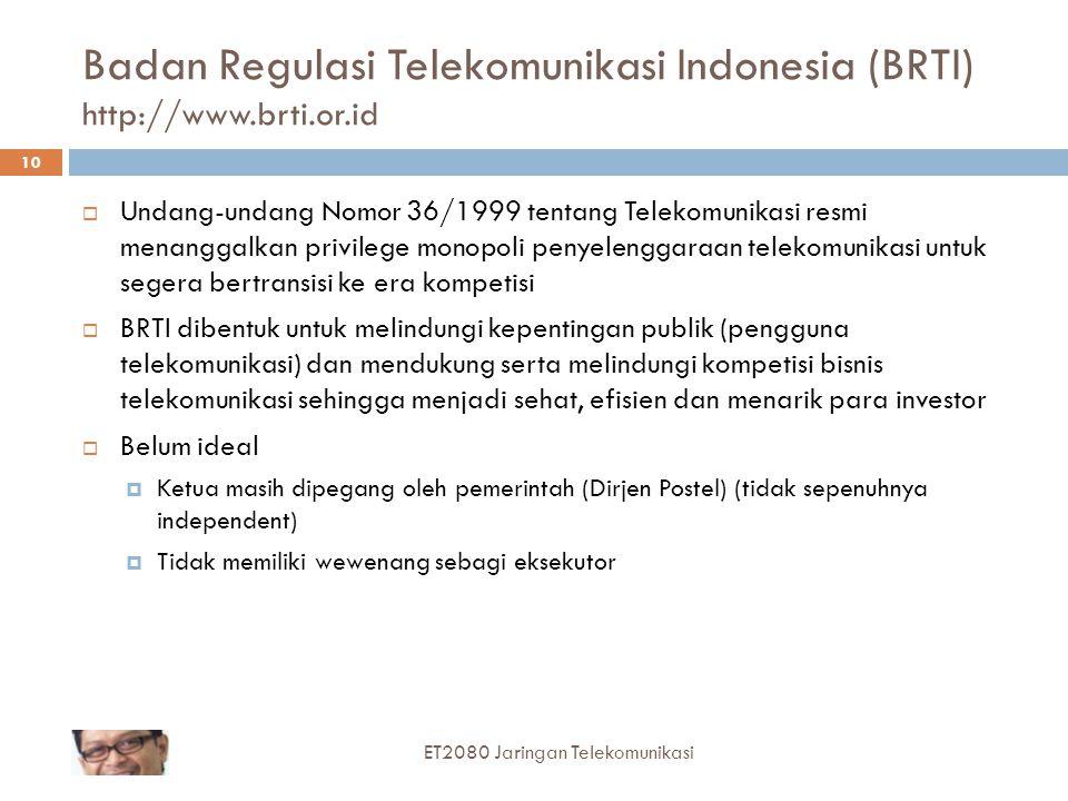 Badan Regulasi Telekomunikasi Indonesia (BRTI) http://www.brti.or.id
