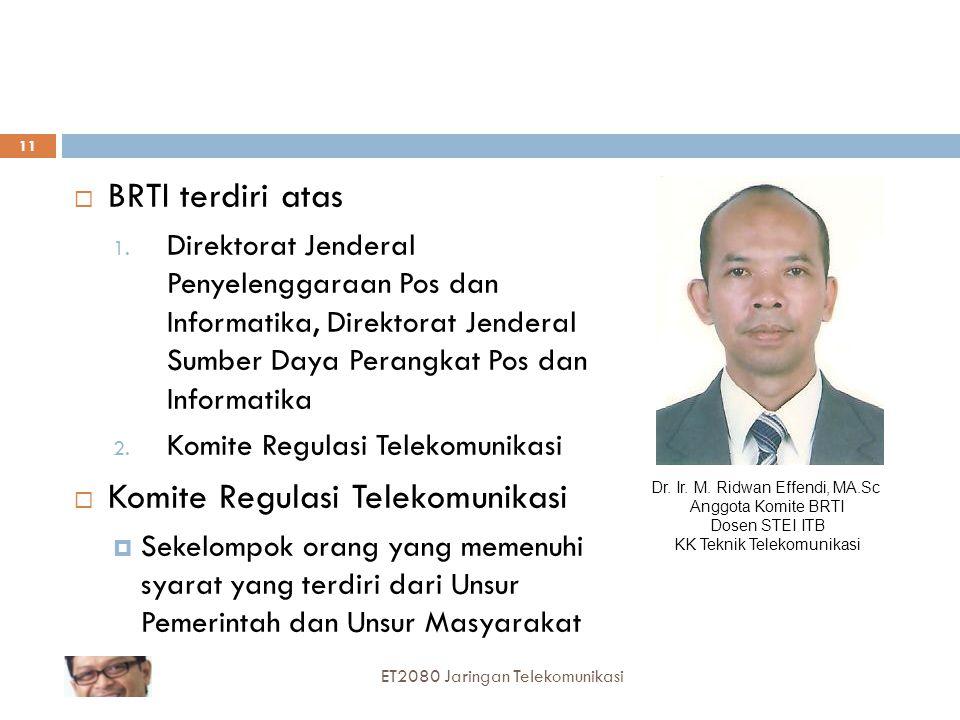 BRTI terdiri atas Direktorat Jenderal Penyelenggaraan Pos dan Informatika, Direktorat Jenderal Sumber Daya Perangkat Pos dan Informatika.