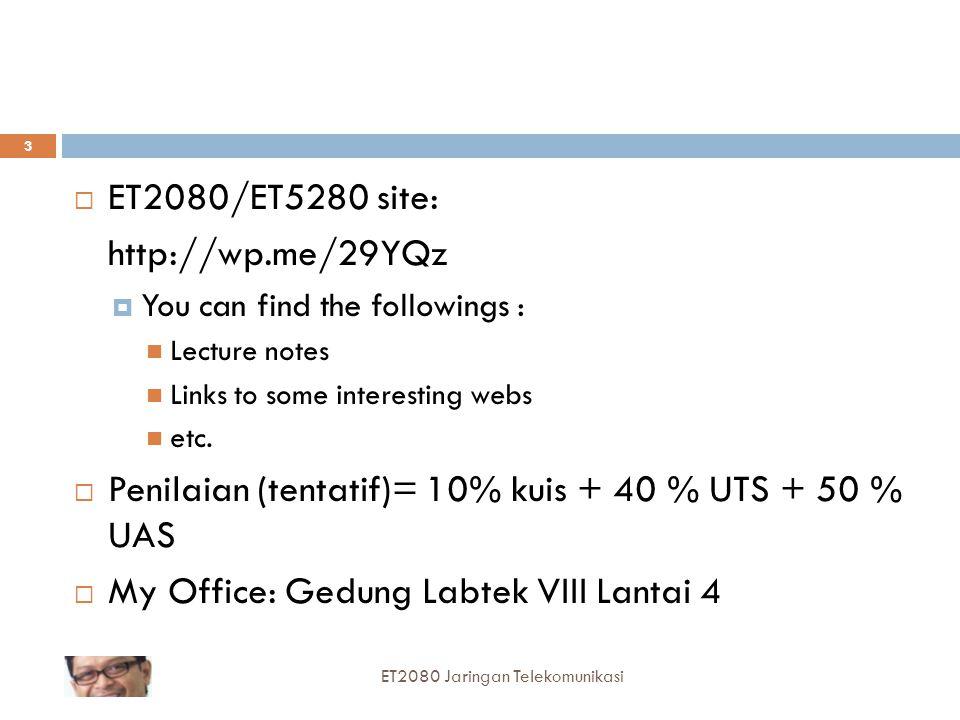 Penilaian (tentatif)= 10% kuis + 40 % UTS + 50 % UAS