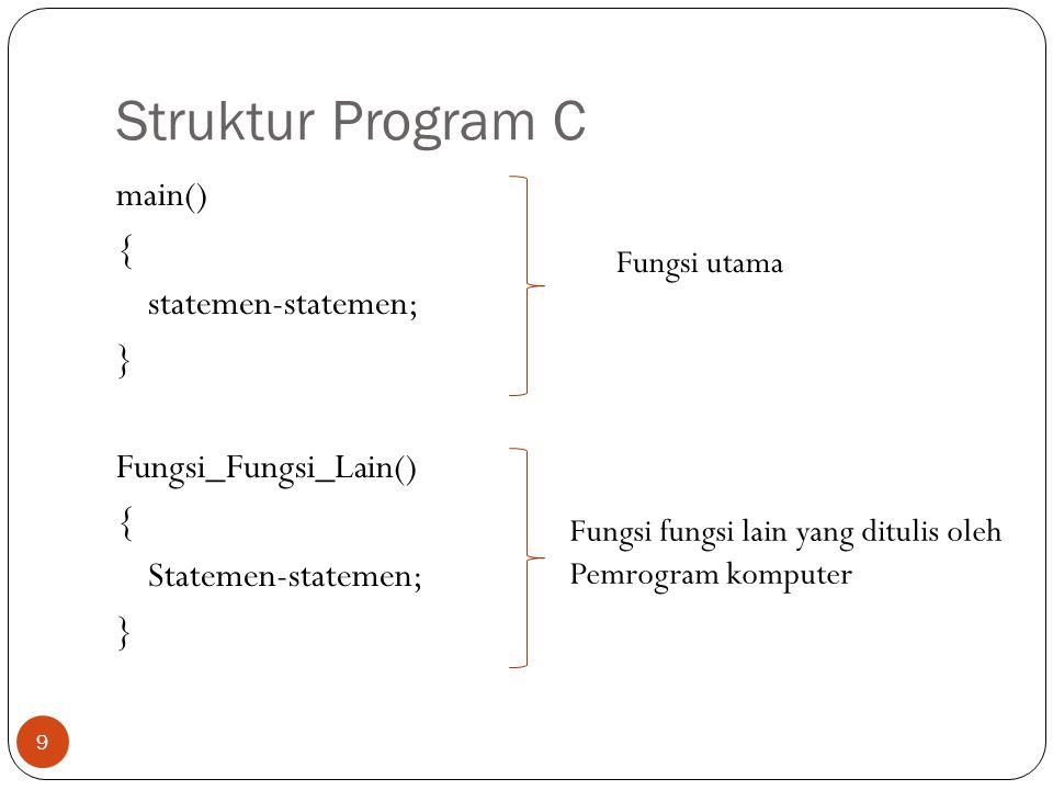 Struktur Program C main() { statemen-statemen; } Fungsi_Fungsi_Lain() Statemen-statemen; Fungsi utama.