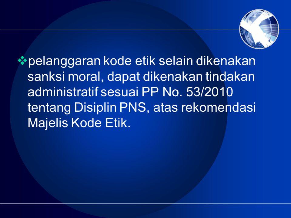 pelanggaran kode etik selain dikenakan sanksi moral, dapat dikenakan tindakan administratif sesuai PP No.