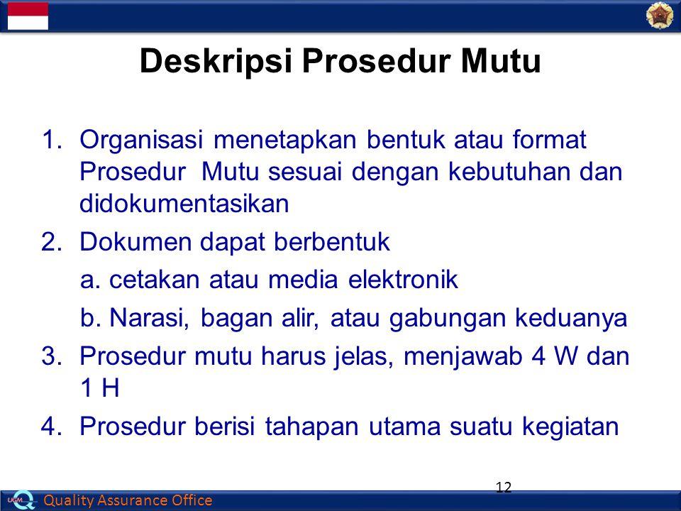 Deskripsi Prosedur Mutu