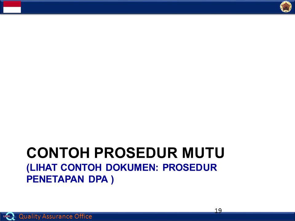 Contoh PROSEDUR mutu (lihat contoh Dokumen: PROSEDUR PENETAPAN DPA )