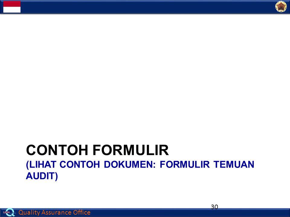 Contoh FORMULIR (lihat contoh Dokumen: FORMULIR TEMUAN AUDIT)