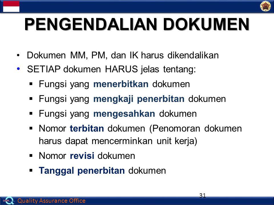 PENGENDALIAN DOKUMEN Dokumen MM, PM, dan IK harus dikendalikan