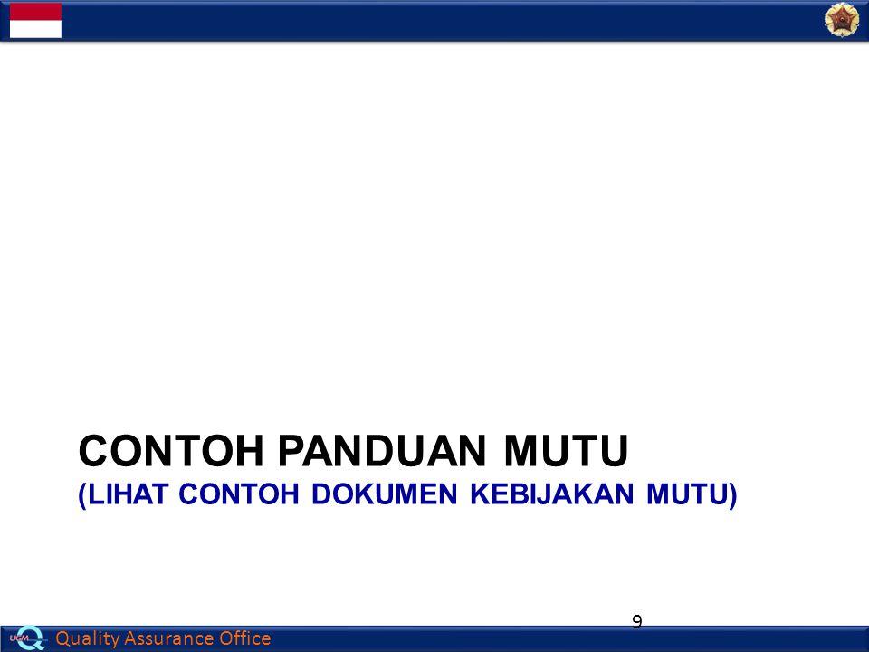 Contoh PANDUAN mutu (lihat contoh Dokumen kebijakan mutu)