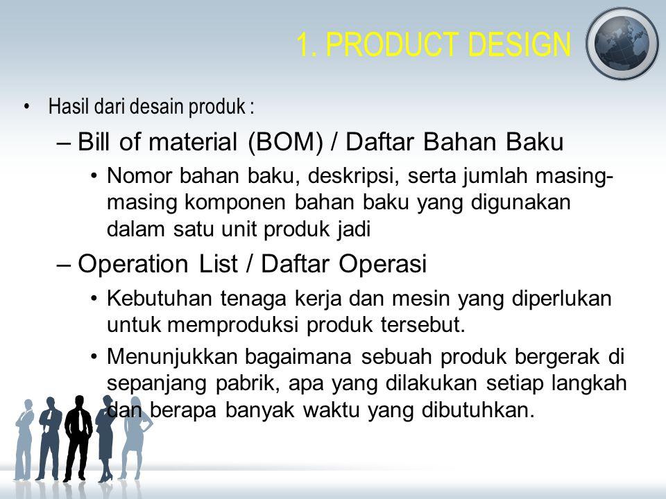 1. PRODUCT DESIGN Bill of material (BOM) / Daftar Bahan Baku