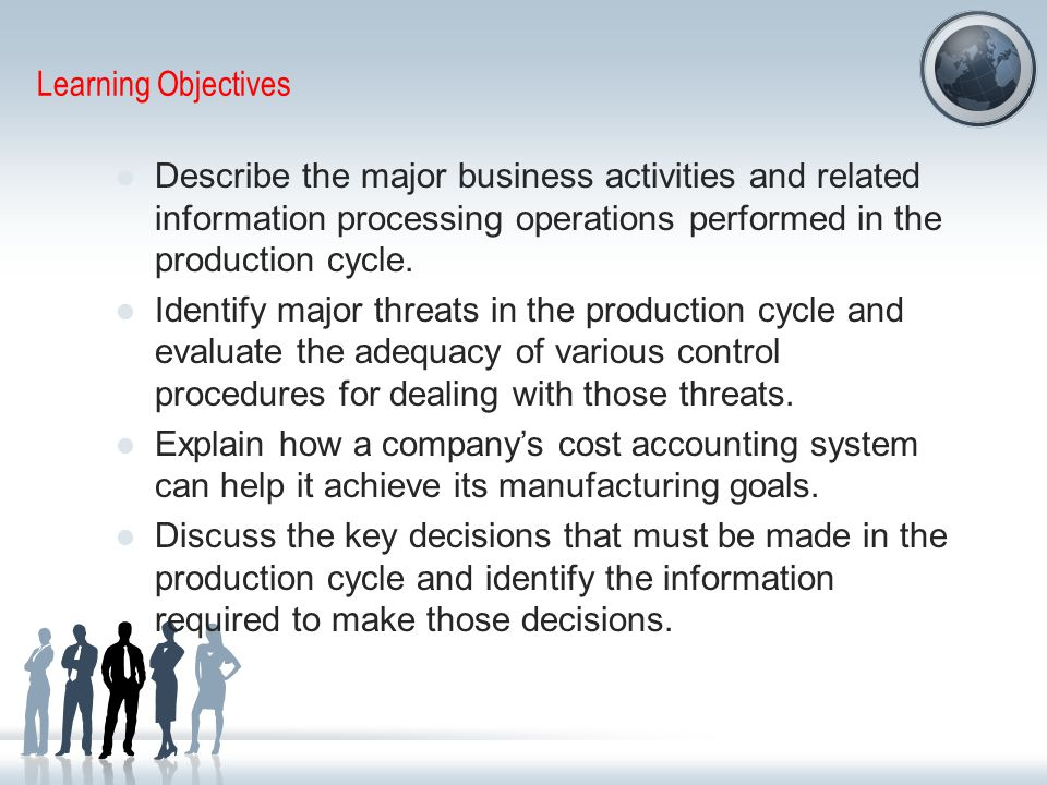 Learning Objectives Describe the major business activities and related information processing operations performed in the production cycle.