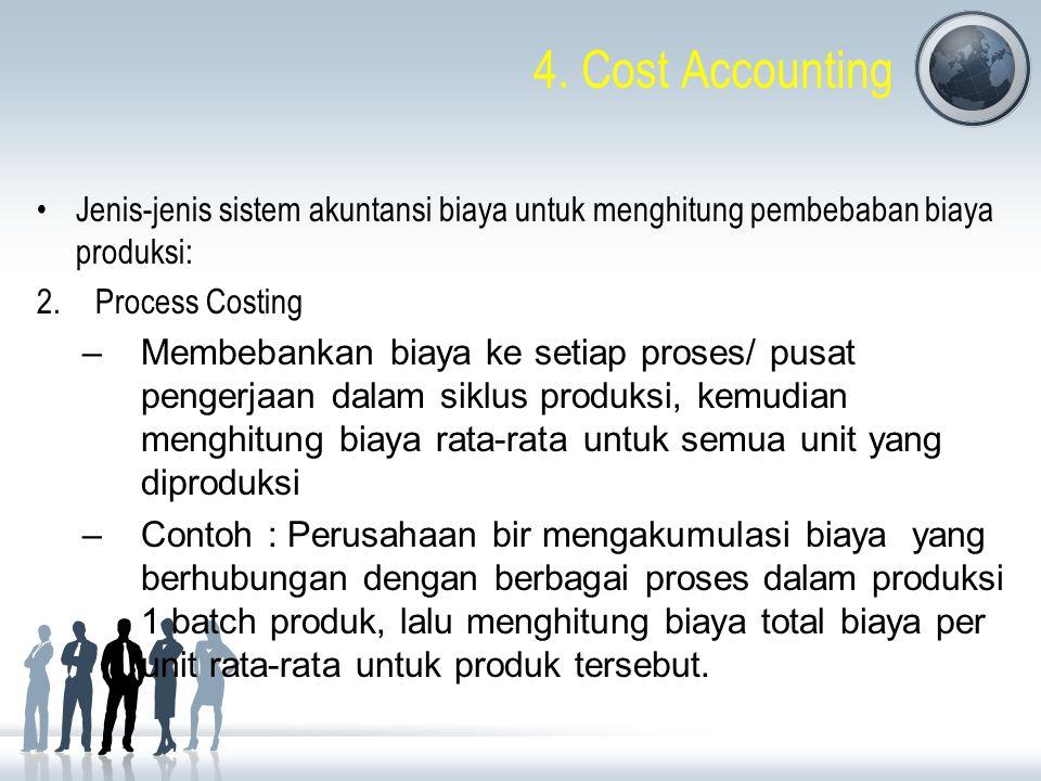 4. Cost Accounting Jenis-jenis sistem akuntansi biaya untuk menghitung pembebaban biaya produksi: Process Costing.