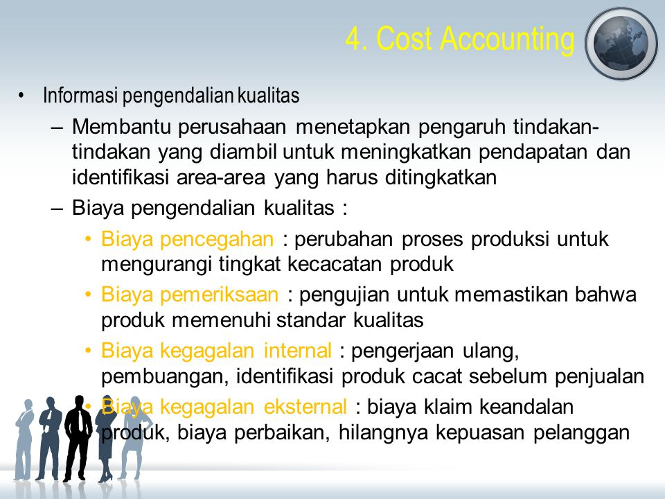 4. Cost Accounting Informasi pengendalian kualitas