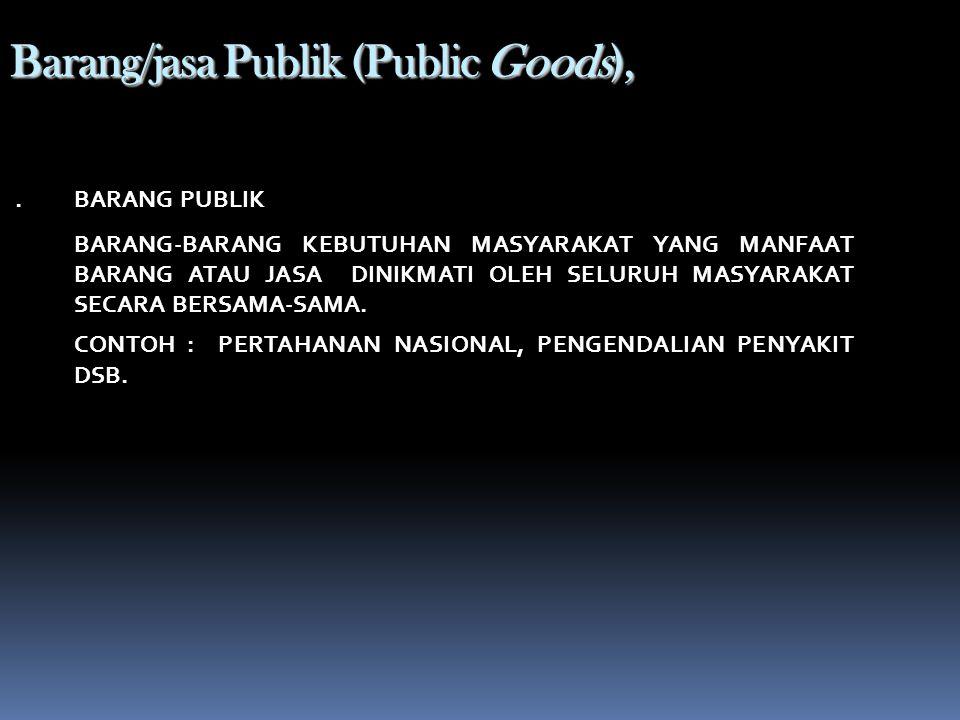 Barang/jasa Publik (Public Goods),