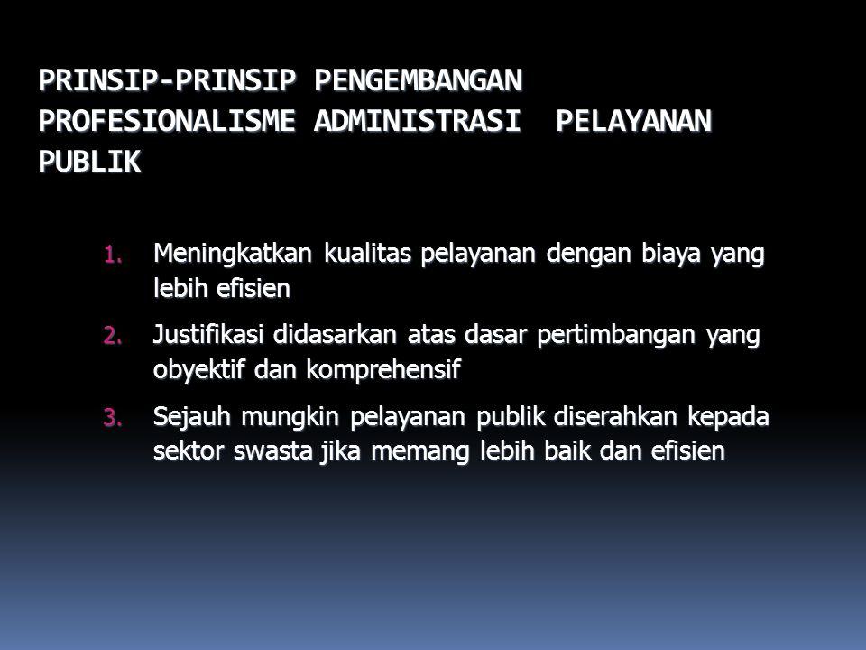 PRINSIP-PRINSIP PENGEMBANGAN PROFESIONALISME ADMINISTRASI PELAYANAN PUBLIK