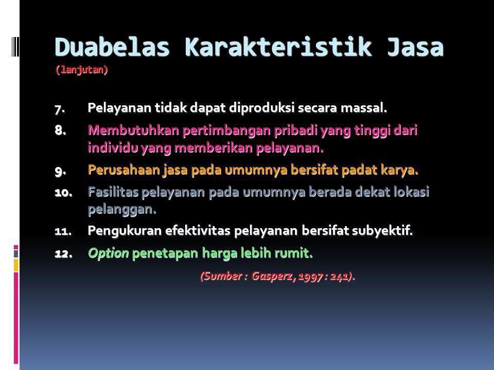 Duabelas Karakteristik Jasa (lanjutan)