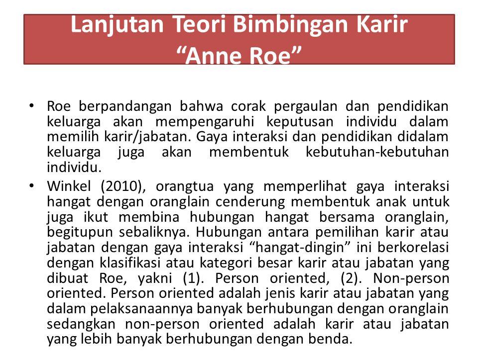 Lanjutan Teori Bimbingan Karir Anne Roe