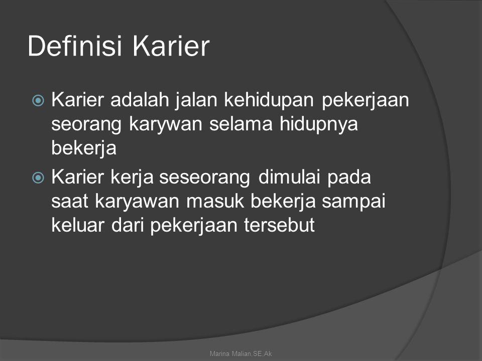 Definisi Karier Karier adalah jalan kehidupan pekerjaan seorang karywan selama hidupnya bekerja.