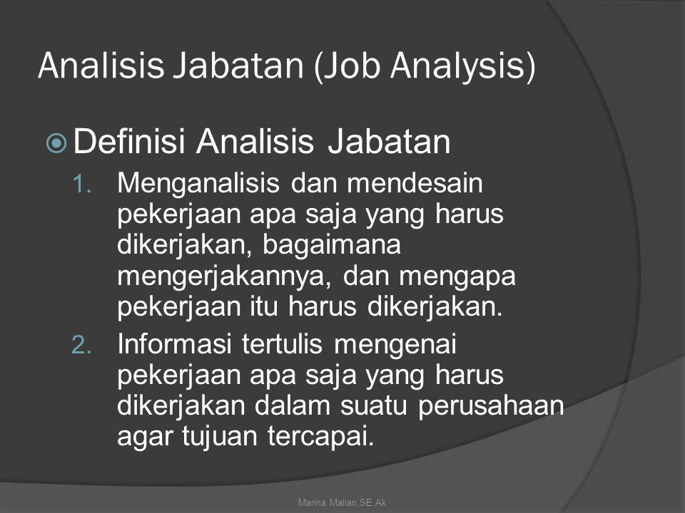 Analisis Jabatan (Job Analysis)