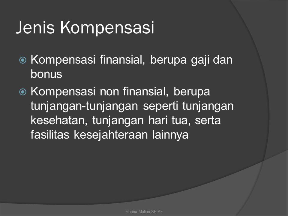 Jenis Kompensasi Kompensasi finansial, berupa gaji dan bonus