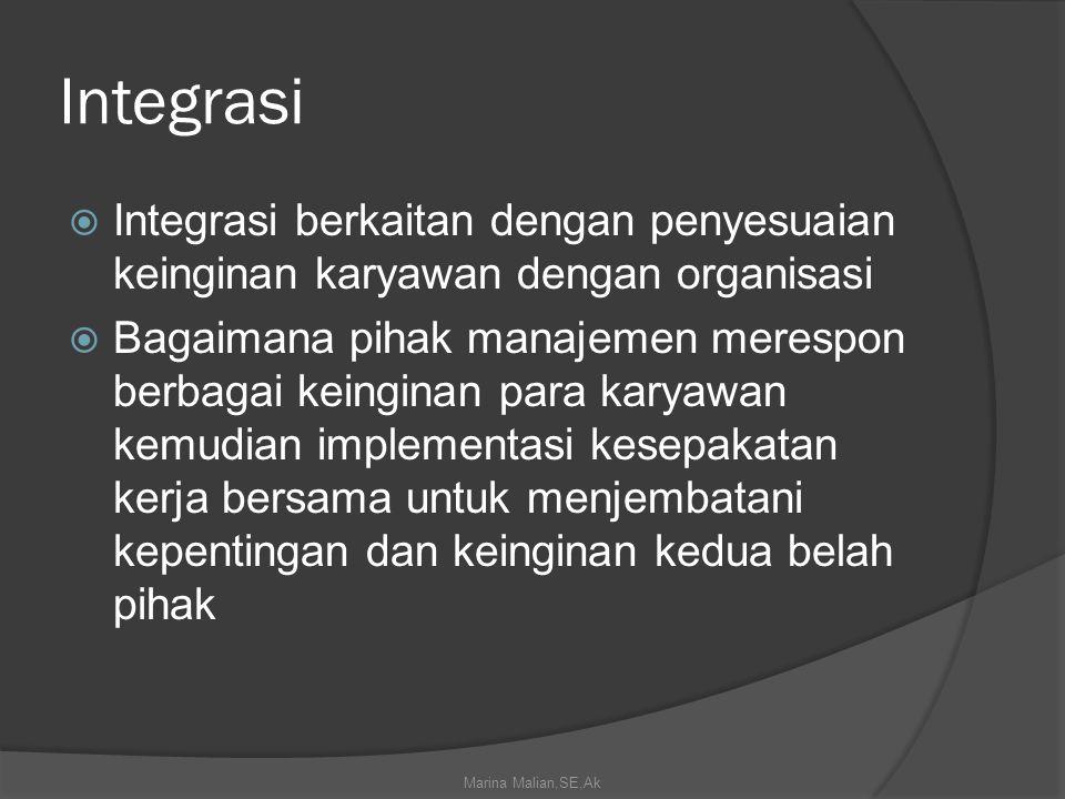 Integrasi Integrasi berkaitan dengan penyesuaian keinginan karyawan dengan organisasi.