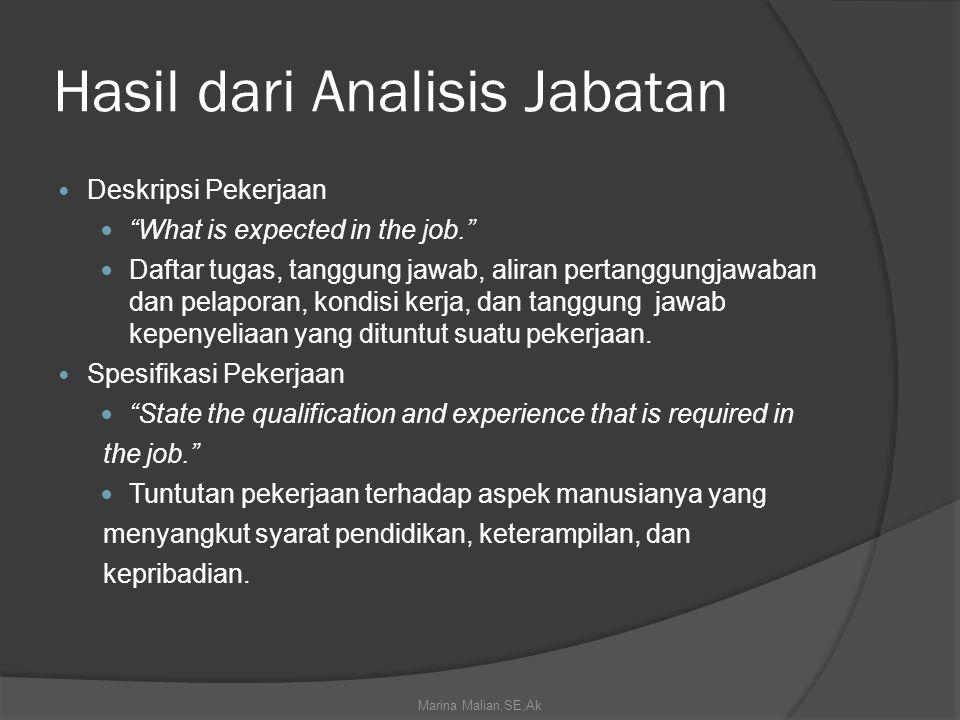 Hasil dari Analisis Jabatan