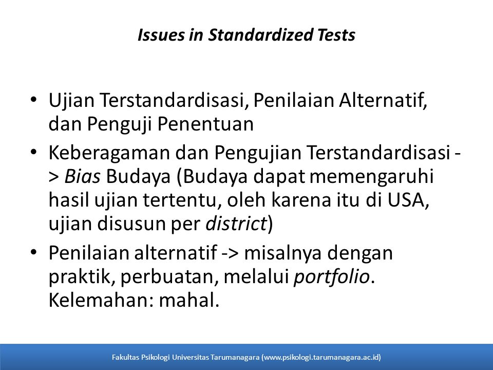 Issues in Standardized Tests
