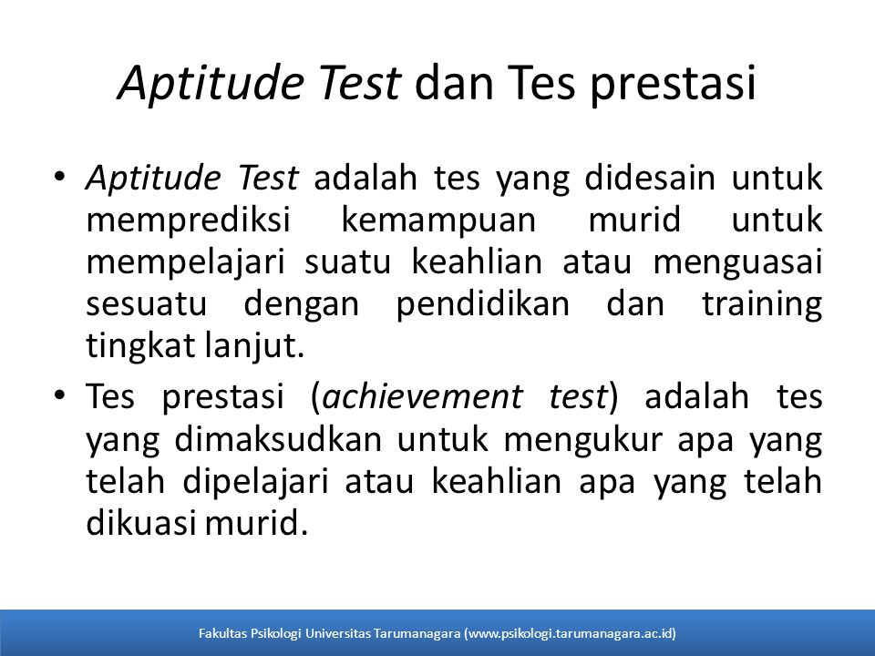 Aptitude Test dan Tes prestasi