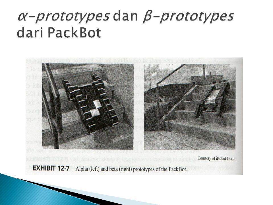 α-prototypes dan β-prototypes dari PackBot