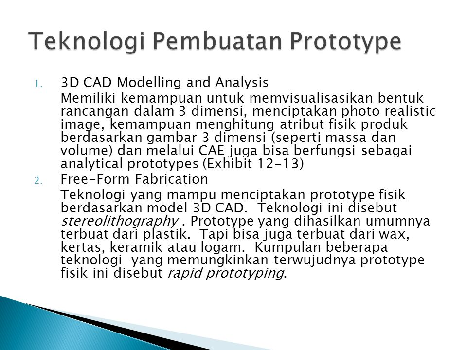 Teknologi Pembuatan Prototype