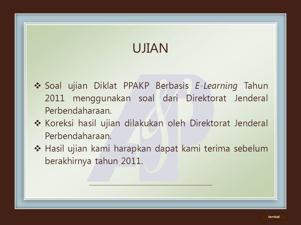 UJIAN Soal ujian Diklat PPAKP Berbasis E-Learning Tahun 2011 menggunakan soal dari Direktorat Jenderal Perbendaharaan.