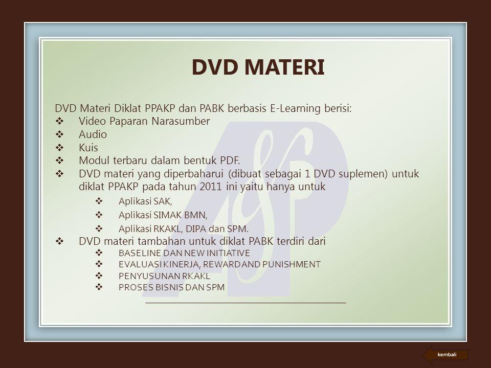 DVD MATERI DVD Materi Diklat PPAKP dan PABK berbasis E-Learning berisi: Video Paparan Narasumber. Audio.