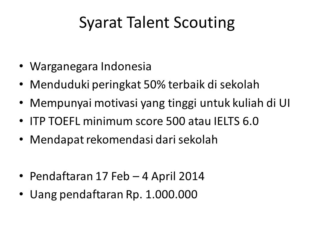 Syarat Talent Scouting