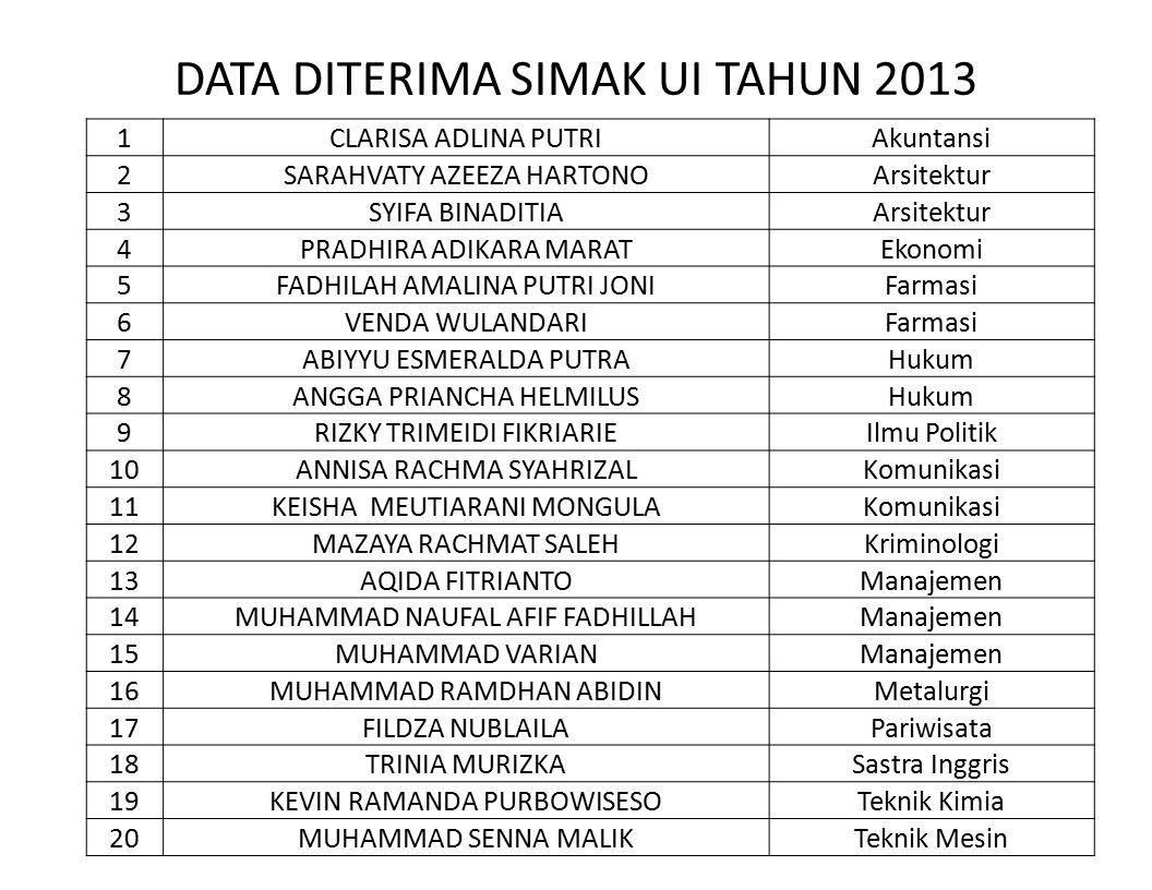 DATA DITERIMA SIMAK UI TAHUN 2013
