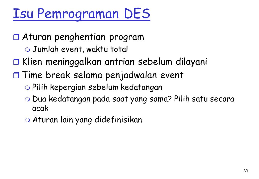 Isu Pemrograman DES Aturan penghentian program