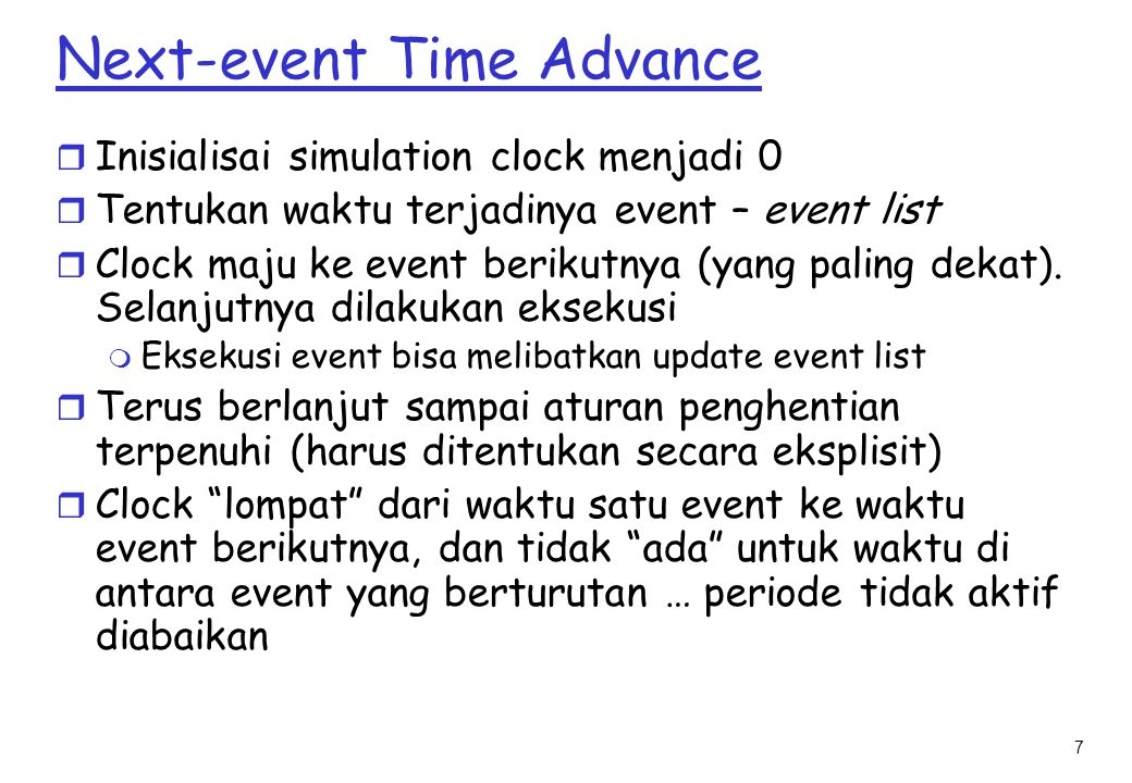 Next-event Time Advance