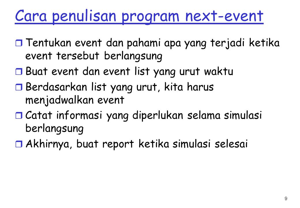 Cara penulisan program next-event