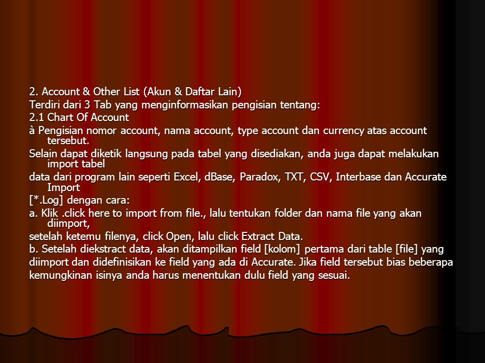2. Account & Other List (Akun & Daftar Lain)