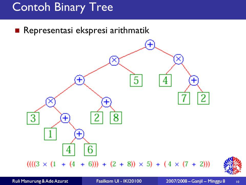Contoh Binary Tree Representasi ekspresi arithmatik