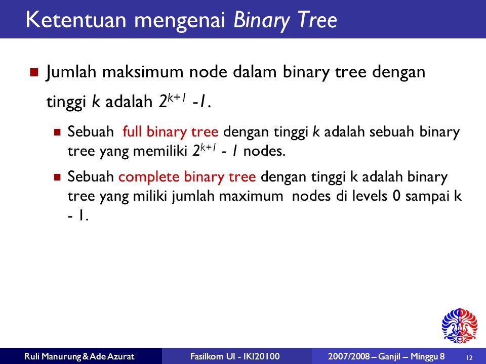 Ketentuan mengenai Binary Tree