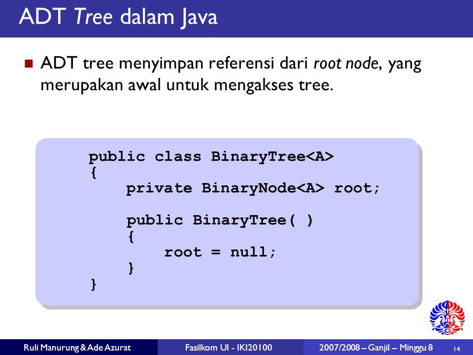 ADT Tree dalam Java ADT tree menyimpan referensi dari root node, yang merupakan awal untuk mengakses tree.