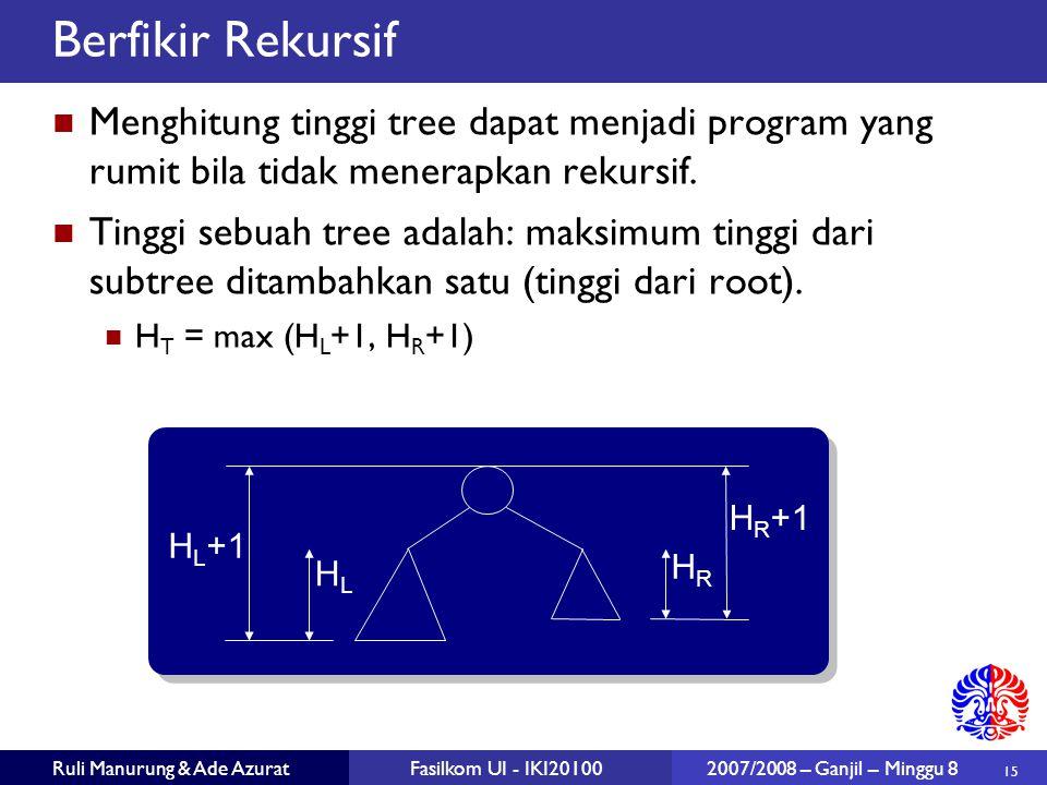 Berfikir Rekursif Menghitung tinggi tree dapat menjadi program yang rumit bila tidak menerapkan rekursif.