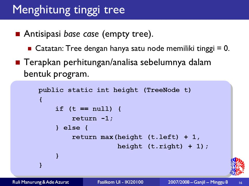 Menghitung tinggi tree