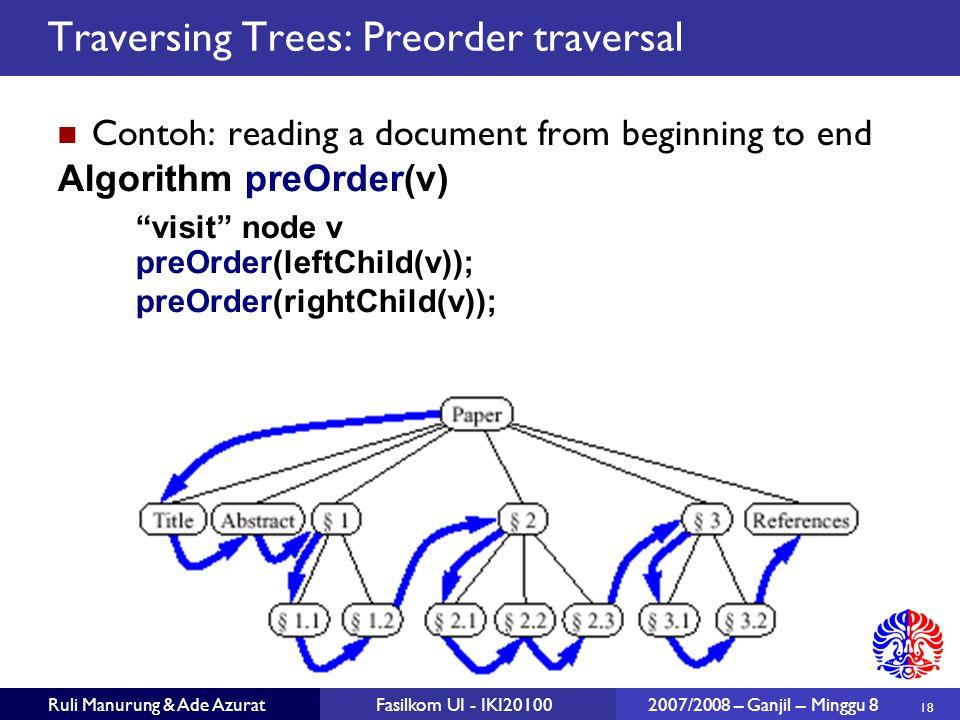 Traversing Trees: Preorder traversal