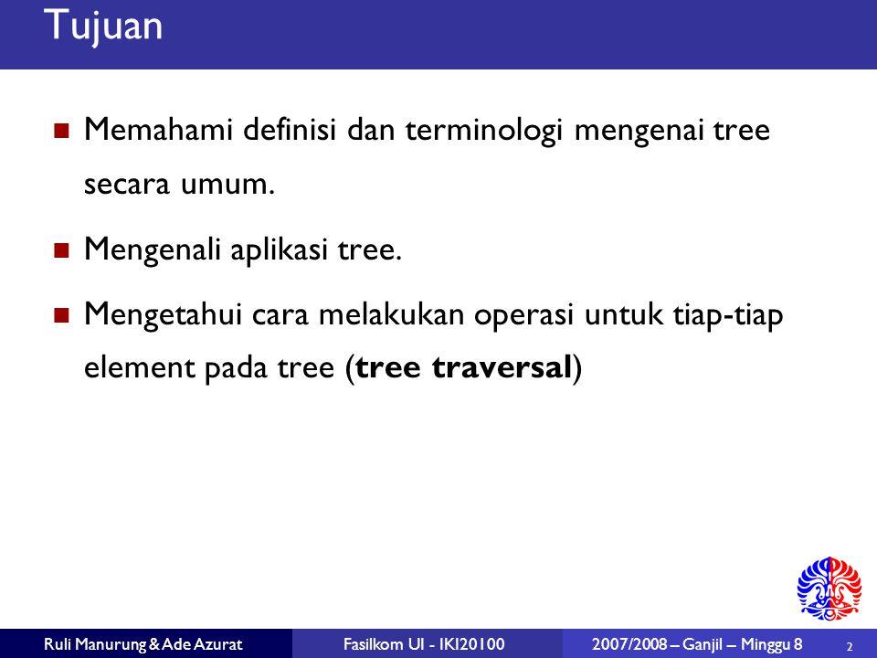 Tujuan Memahami definisi dan terminologi mengenai tree secara umum.