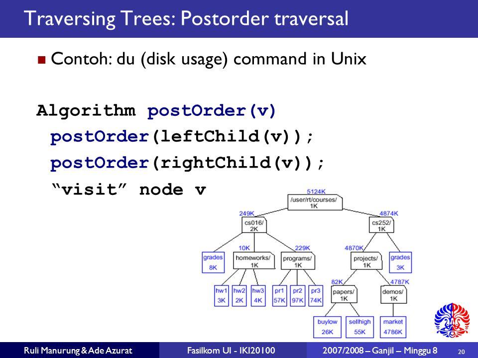Traversing Trees: Postorder traversal