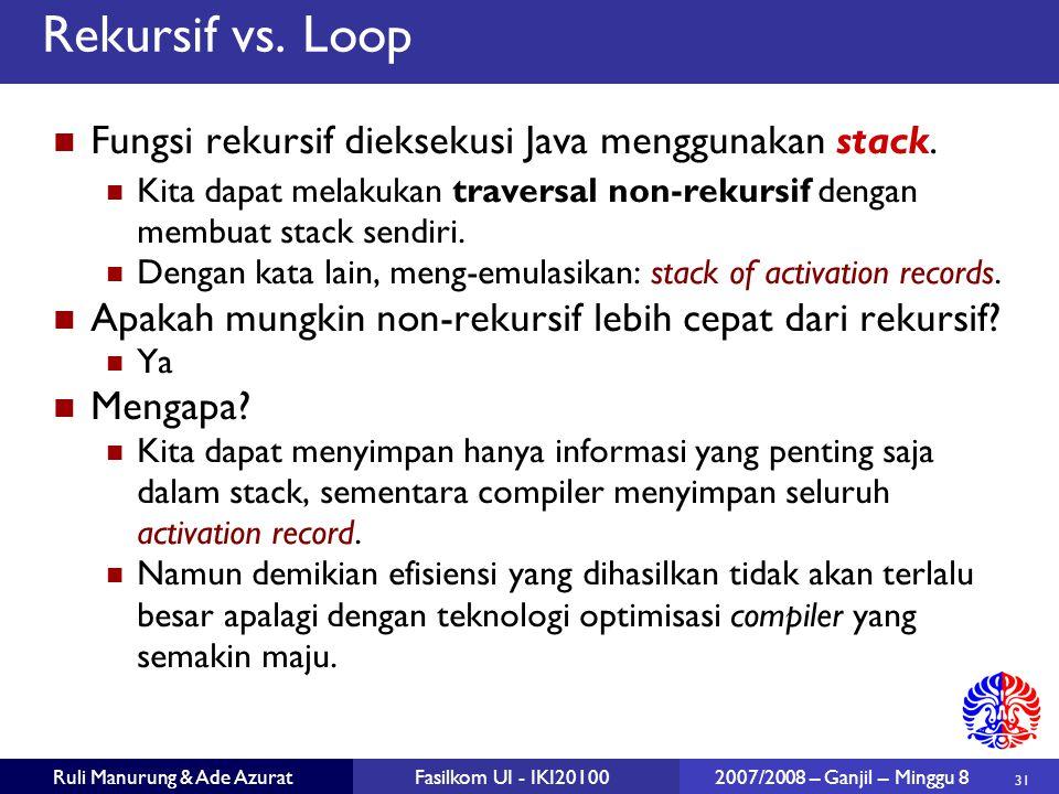Rekursif vs. Loop Fungsi rekursif dieksekusi Java menggunakan stack.