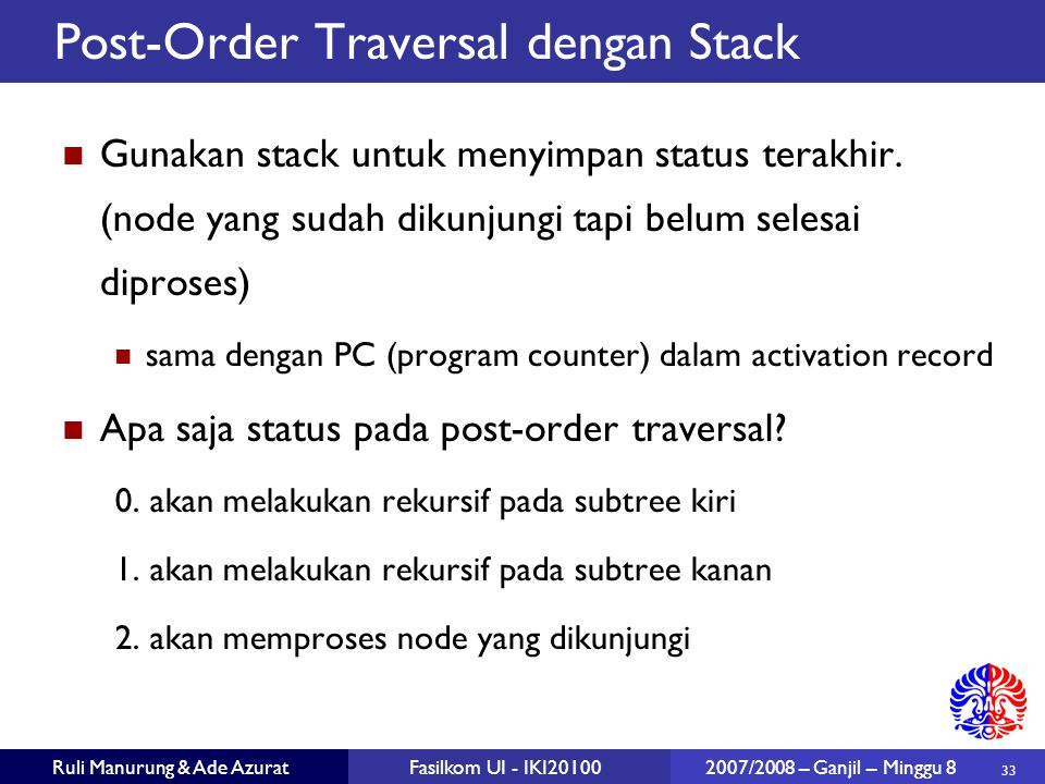 Post-Order Traversal dengan Stack