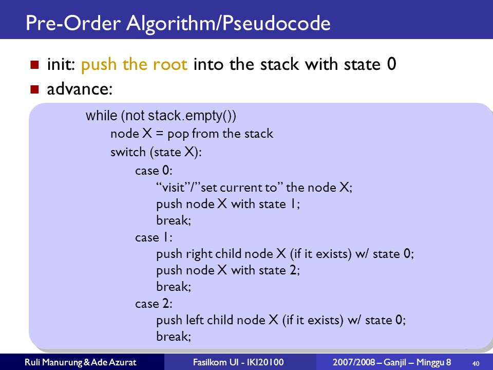 Pre-Order Algorithm/Pseudocode